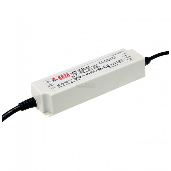 LPF-60D-24 Mean Well LED Netzteil SNT IP67 60W 24V/2,5A CV+CC dimmbar
