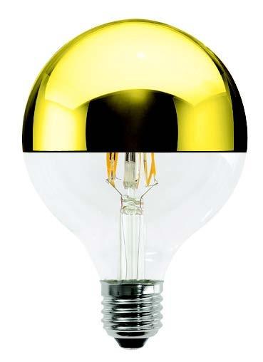LED Leuchtmittel GLOBO 125mm 230V 5W E27 3000K gold verspiegelt