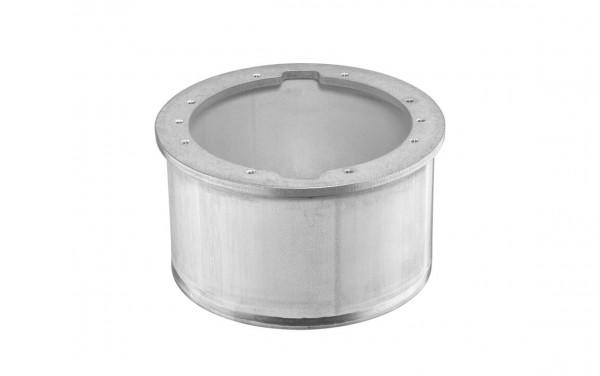 Einbaugehäuse für quadratische Blende, aus V4A-Edelstahl für dünnwandige Becken und Folienbecken