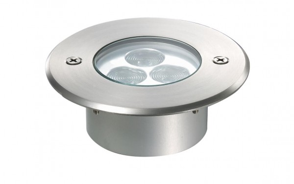 WIBRE Bodeneinbau-Scheinwerfer Runde Aufsatzblende | LED RGB 5Watt V4A Edelstahl IP67