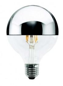 LED Leuchtmittel GLOBO 125mm230V 4W E27 3000K CUP. silber verspiegelt