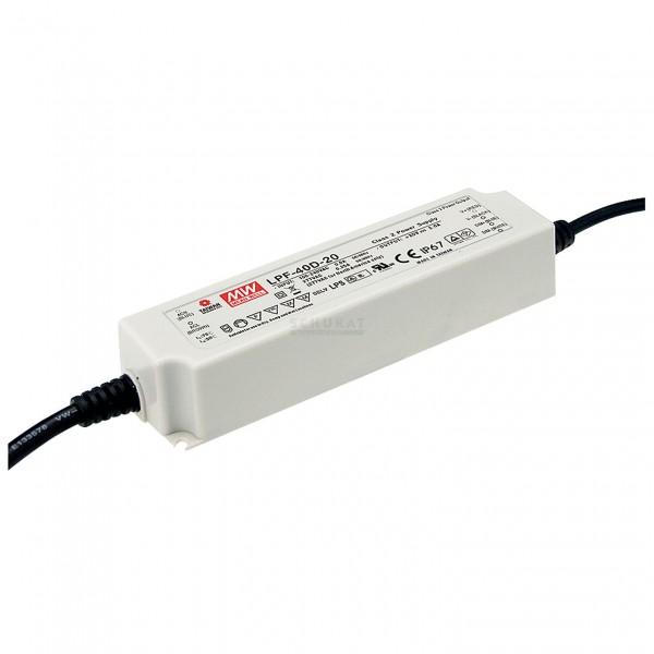 LPF-40D-24 Mean Well LED Netzteil SNT IP67 40W 24V/1,67A CV+CC dimmbar