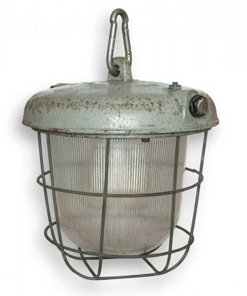 Original Industrieleuchte Gußeisen mit Glas und Schutzgitter grau E27 Fassung Antik POLAM WILKASY