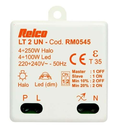 Relco Tast Dimmer Einbau LED Halogen LT2UN Regolatore Univ.puls. 4-100W 230V
