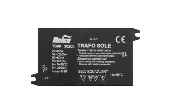 TRAFO-SOLE 20-60W 230V/12V alternativ zu RN1441/C ETV60/C regelbar mit ext. Potentiometer 4,7MOhm